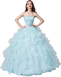 Women's Beading Sweetheart Ball Gown Tulle Layed Long Quinceanera Dress
