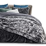 Bedsure Faux Fur King Size Blanket for Bed - Dark Grey Fuzzy Plush Fluffy Soft Warm Thick Reversible Tie-dye Sherpa Fleece Large Blankets King Size, 108x90 inches