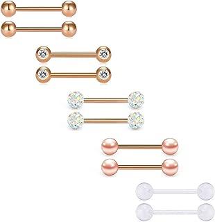 14G Nipple Rings Tongue Rings Straight Piercing Barbells Stainless Steel nipplerings 5 Pairs