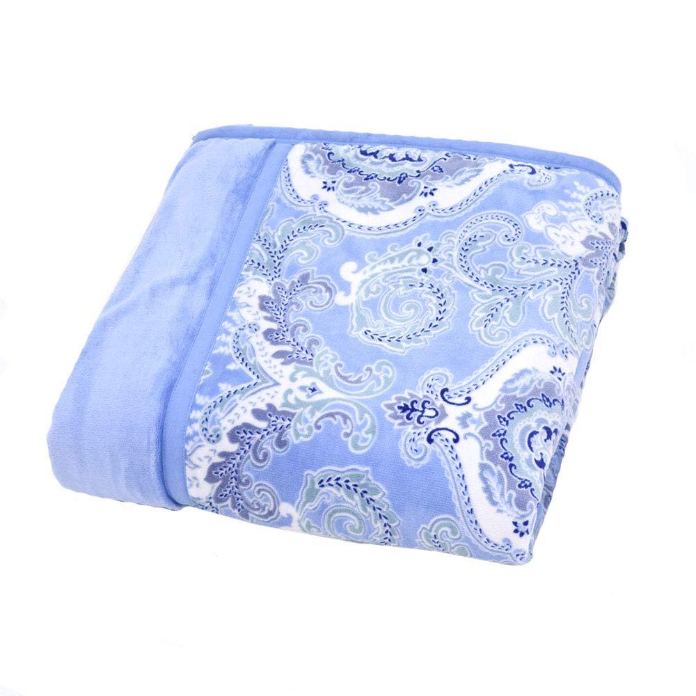 毛布 シングル 西川 2枚合わせ わた入り毛布 マイヤー 軽量 薄手 東京西川 FQ08045095 MD8092 (B(ブルー))