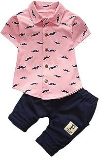 2Piece Toddler Baby Kids Boy Outfits Set,Short Sleeve Print Gentleman Shirt T-Shirt Pants Summer Clothes Suit