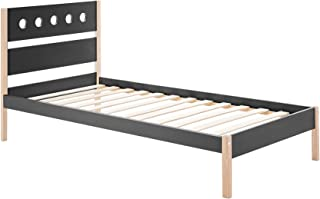 HOMCOM Lit Enfant 90 x 190 cm - Structure lit avec tête de lit et sommier à Lattes Inclus - pin Massif MDF Classe E1 Gris ...