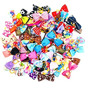 JpGdn 60pcs/(30pairs) Small Dogs Hair Bowswith Rhinestone Doggy Hair Bow Ties for Puppy Cat Kitten Medium Animals Hair Bowknot Grooming Accessories Random Colors
