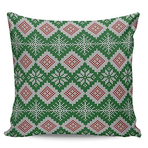 Ye Hua Canvas Throw Pillow Covers Square, Pine Tree Snowflake Knit Zippered Pillow Shams Cases for Cushion/Office/Sofa/Bedroom Home Decor, Green