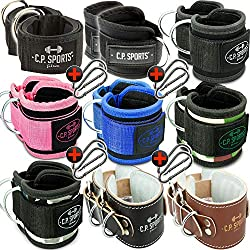 CP Sports Ankle Straps 2er Set Ankle Straps 2 Piece Padded One Size with D-Ring + 1 Pair of Snap Hooks for Cable Pulling Bodybuilding Fitness Training Gym (Foot Strap Black Leather)