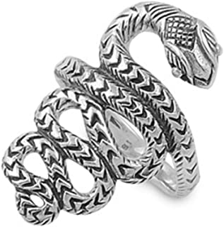 Bijou Argent Massif 925 Bague Serpent Taille 53 Ring A Great Variety Of Models Jewelry & Watches Precious Metal Without Stones
