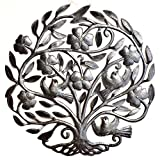 Floral Tree of Life with Love Birds, Decorative Sculptures, Spring House Wall Hangings, Family Roots, Flowers, 22 In. x 22 In. (Floral Tree)