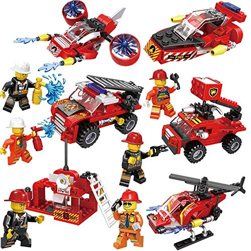 ZZAZXB Camión de Bomberos de Ciudad, 6 en 1Coche Camión de Bomberos Bloques Ensamblados con 6 Minifiguras, Regalos de Juguetes Educativos para Niños