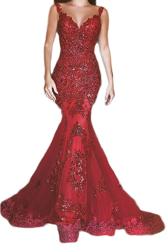 LISA.MOON Women's V Neck Mermaid Sleeveless Backless Sweep Train Net Prom Dress