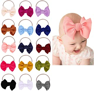 Baby Girl Nylon Headbands Newborn Infant Toddler Bow...