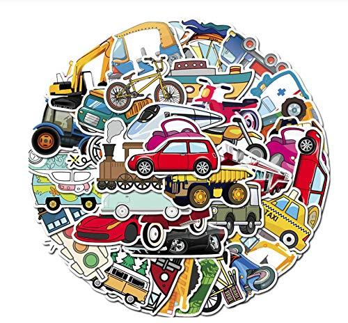 50 Stuks Kinderen Cartoon Tractor Graafmachine Auto Sticker Transport Graffiti Stickers Voor Koffer Laptop Motor Koelkast Klassiek Speelgoed