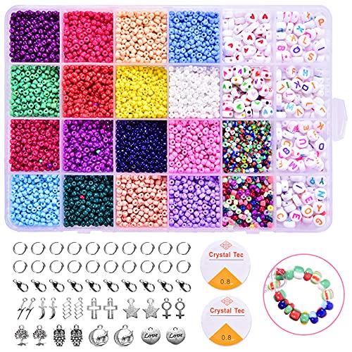 TIMLUC 8500 unidades de mini perlas de cristal y cuentas de letras, multicolor, juego de perlas para manualidades, pulseras, joyas, manualidades