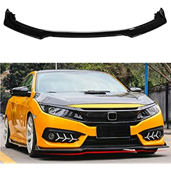 Front Lip Chin Splitter Body Kit Spoiler Protector 3PCS PP Gloss Black IKON MOTORSPRTS Universal Front Bumper Lip Compatible With Most Vehicles