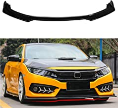 MotorFansClub 3pcs Front Bumper Lip Splitter for Honda Civic 2016 2017 2018 Trim Protection Splitter Spoiler, Black