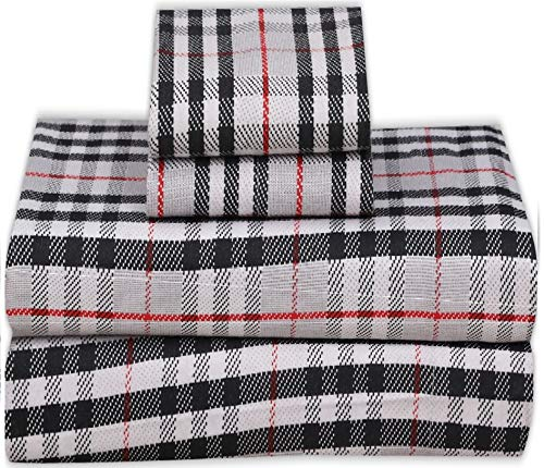 Ruvanti 100% Cotton 4 Piece Flannel Sheets Queen Red Grey Plaid Deep Pocket -Warm-Super Soft - Breathable Moisture Wicking Flannel Bed Sheet Set Queen Include Flat Sheet, Fitted Sheet 2 Pillowcases