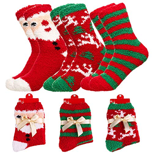 Yoicy Women Christmas Fuzzy Fluffy Socks - Cozy Warm Slipper Bed Socks for Xmas Gift