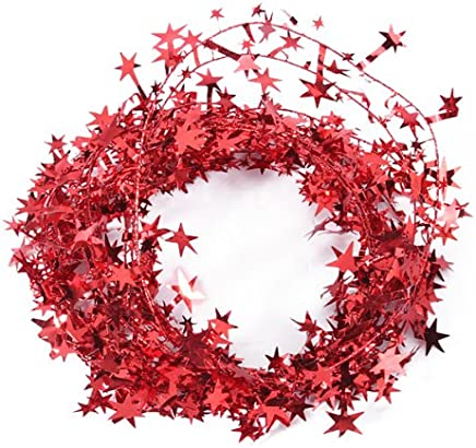 23 Feet Glittering Red-Star Shaped Tinsel Wire Garland Christmas Decoration