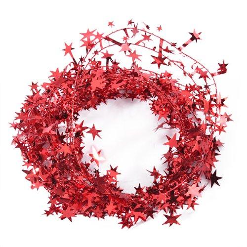 Desconocido 23pies Brillante espumillón en Forma de Red-Star Alambre Guirnalda decoración de Navidad, Metal,...