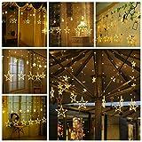 12 Sterne Lichterkette,138LED warmweiss Lichtervorhang weihnachtslichter Sternenvorhang 8 Modi mit Fernbedienung Innen Außen Sterne Vorhang Lichter Für Weihnachten,Party,Hochzeit,Garten, Balkon, Deko - 7