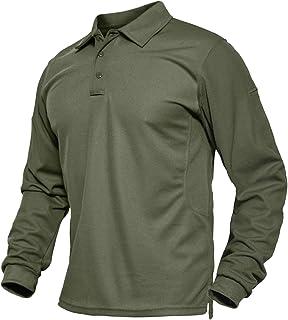 BIYLACLESEN Men's Jersey Golf Polo Shirts Outdoor Pique Performance Tactical Military Long Sleeve Shirts