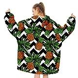 Manta de Sudadera con Capucha Extragrande - Manta de TV Suave Jersey Estampado Estilo Hawaiano con Bolsillo Delantero Grande