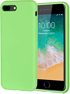 iPhone 8 Plus Case,iPhone 7 Plus Case,Soft Silicone Gel Rubber Case with Tempered Glass Screen Protector Microfiber Lining Cushion Full Protective Case for iPhone 8 Plus,iPhone 7 Plus (Green)