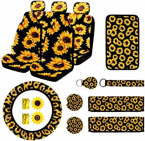 17 PC Sunflower Car Accessories Set, Sunflower Car Seat Covers, Sunflower Steering Wheel Cover, Universal Console Cover, headrest covers, Key ring, Seat Belt Shoulder Pads, Car Vent Decor&Cup Coaster.