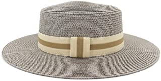 CHENDX High Quality Hat, New Women Sun Hat Sunmmer Beach Flat Top Straw Hat Men Boater Hats Outdoor Travel Sunscreen Hat (Color : Gray, Size : 56-58CM)