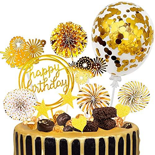 ECtury Tortendeko Geburtstag, Gold Happy Birthday Tortendeko, Cake Topper Girlande mit Sternen Gold Deko, Geburstagstorte Kuchendeko für Mädchen Junge Mann Kindergeburtstag Geburtstagskerzen