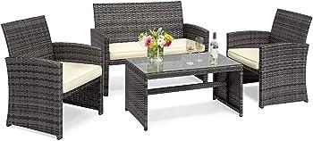 Goplus 4 Piece Rattan Patio Furniture Set