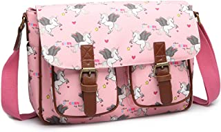 Miss Lulu Women Messenger Bag School Bags for Girls Cross Body Bag Matte Oilcloth Shoulder Satchel (Pink)