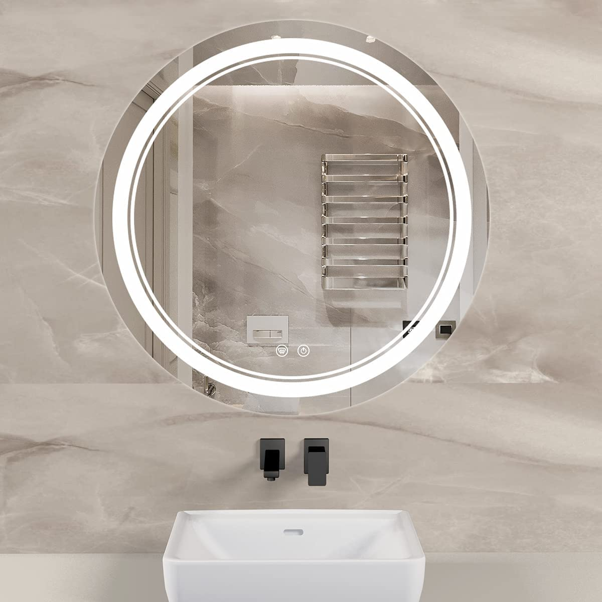 TETOTE 24 Inch LED Bathroom Mirror Dimmable Quality inspection Anti-Fo Direct stock discount Vanity Round