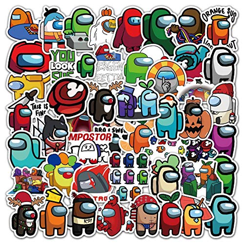 50 Pcs Among Us Stickers for Laptop Game Theme Stickers Decals Waterproof Water Bottle Stickers for Motorcycle Bicycle Skateboard Luggage Decal Graffiti Patches (50-8)