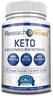 Sponsored Ad - Research Verified Keto - Vegan Keto Supplement with 4 Exogenous Ketone Salts (Calcium, Sodium, Magnesium an...