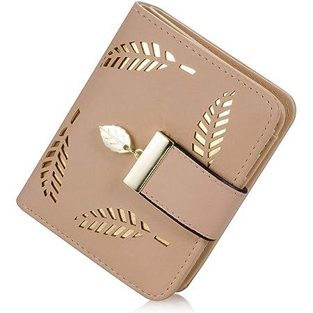 Portemonnaie Damen, Klein Leder Geldbörse Bifold Brieftasche Handtasche mit Bargeld/ID/Kreditkarte Halter, Frauen Vegane Geldbeutel Kleine Geldbörsen mit Reißverschluss für Damen Mädchen (Beige)