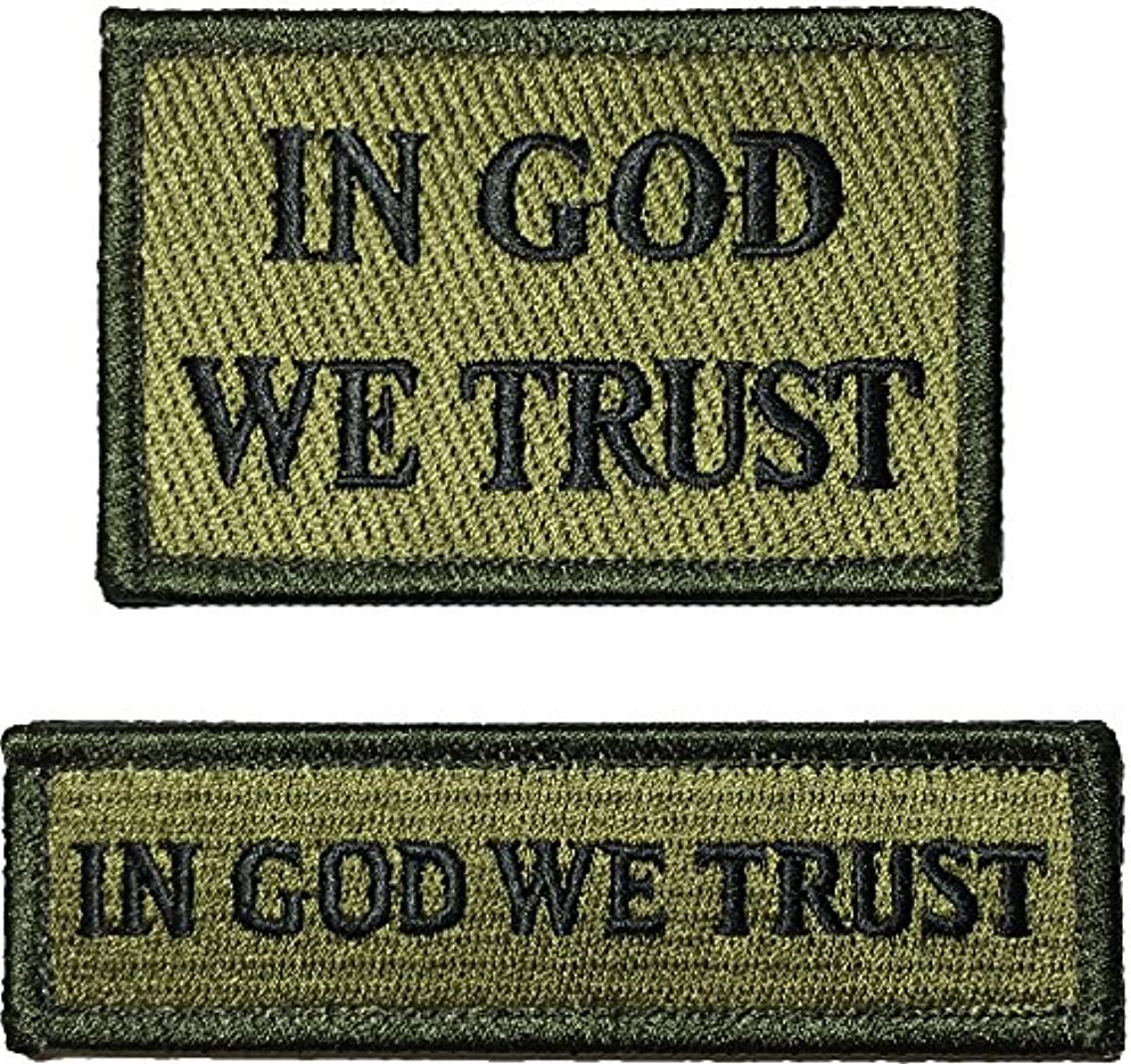 In God We Trust Morale Tactical and Tab Patch Hook and Loop Fasteners Backing - Od (Olive Drab) - By Ranger Return