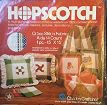 "Hopscotch -- A multi-purpose cross stitch fabric made from combed cotton -- Aida 14 Count -- 1 pc. 15"" x 15"" -- Green / Blue / White/ Yellow Plaid"