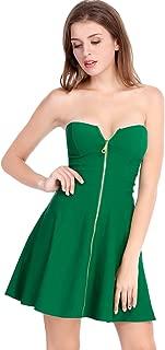 Allegra K Women's Strapless Exposed Zipper Front Tube Mini Party A-Line Dress