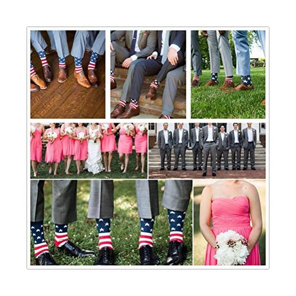 American Flag Socks Men's Fun Dress Socks Patriotic Flag Stars Novelty Funny Crazy Funky Groomsmen Socks Patterned