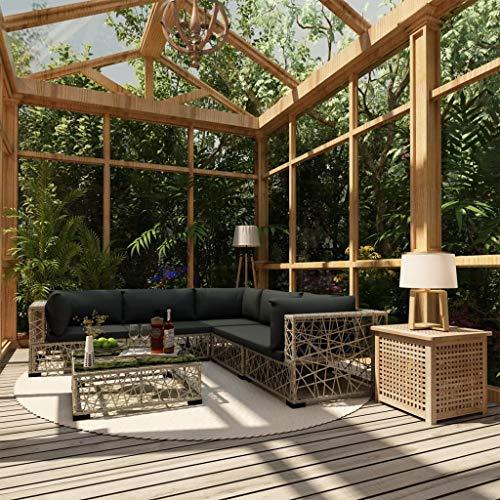 Tidyard Poly Rattan Sitzgruppe, Gartenmöbel Balkonmöbel Gartensofa Ecksofa,Garten Lounge Set, 6-TLG Grau