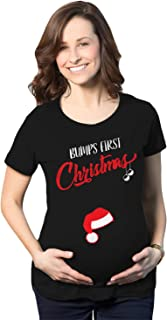 Crazy Dog T-Shirts Bumps First Christmas Maternity Shirt Funny Holiday Party Tee for Pregnant Women