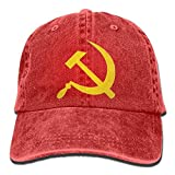 Hoswee Unisex Kappe/Baseballkappe, Hammer and Sickle Plain Adjustable Cowboy Cap Denim Hat for Women...