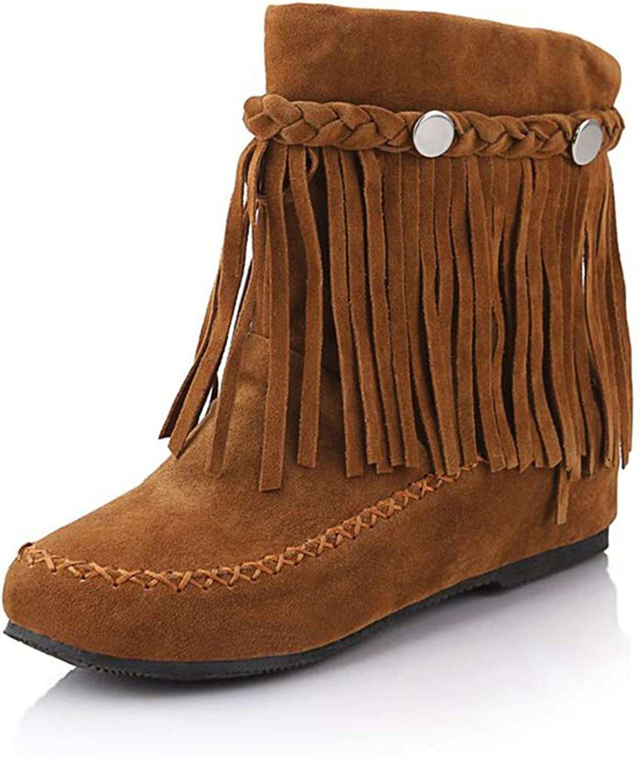 T-JULY Plus Size Autumn Women Boots Bohemia Mid Calf Boot Female Elevator shoes Fashion Fringe Slip On Botas for Ladies Footwear