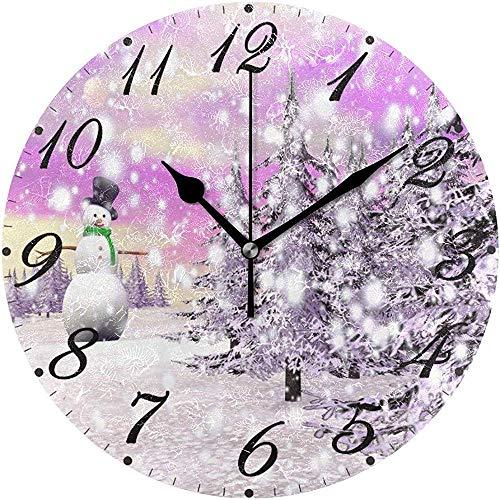 L.Fenn stille winter sneeuwpop sneeuwvlok kerstboom Kerstmis grote wandklok ronde diameter decoratief
