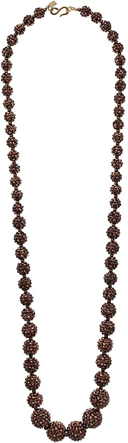 Kenneth Jay Lane Bronze Pave Graduated Bead Necklace