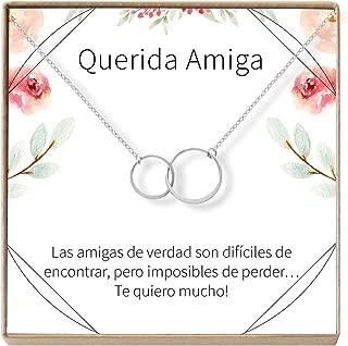Dear Ava Collar Regalo para Amiga: Joyería, Mejor Amiga, Cumpleaños, Navidad, 2 Asymmetrical Circles