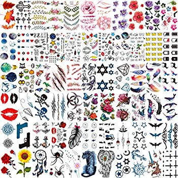 VANTATY 66 Sheets Colorful Small Temporary Tattoos For Kids Arm Face Waterproof Fake Tattoos Stickers For Women Men Adults Funny Cute Cartoon Tattoo For Children Boys Girls Neck Tatoos Sets Kits