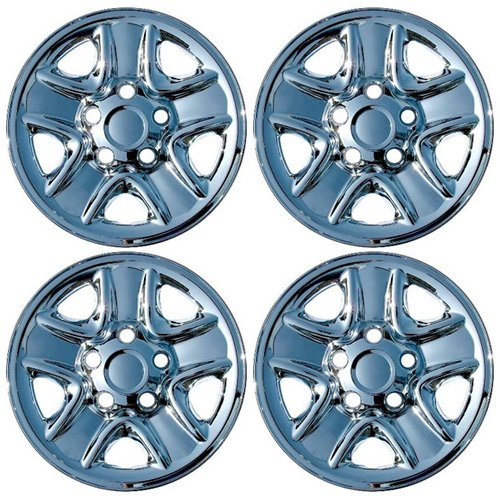IWC IWCIMP77X Set of 4 Chrome 18 Inch Hub Cap Wheel Skins with Center for 07-14 Toyota Tundra 18x8 Inch 5 Lug Steel Rim