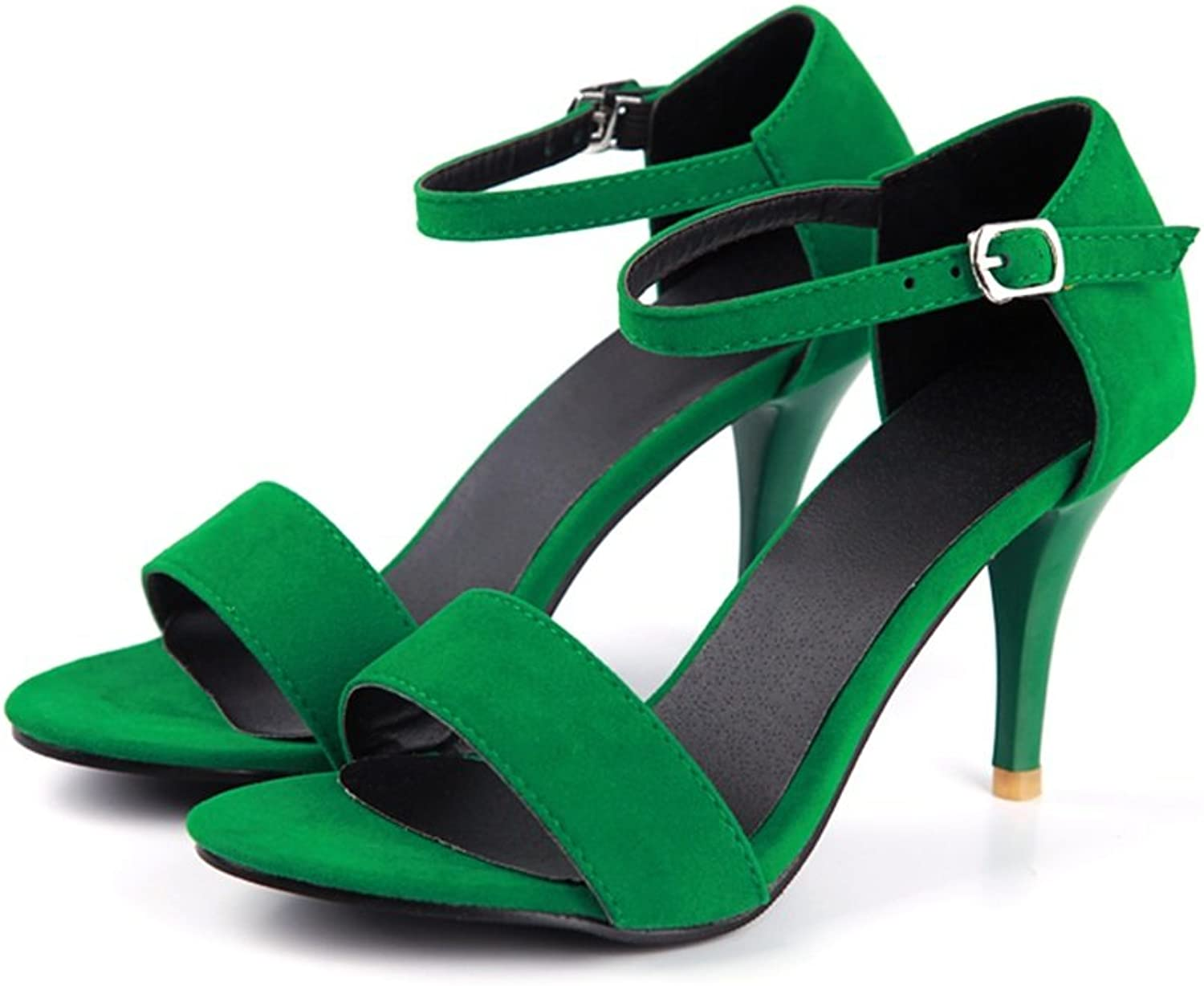 Jiang Women's shoes Suede Spring Summer Sandals Wedge Heel Open Toe Buckle for Casual Dress Green Black Purple Sandals