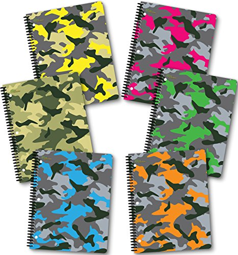 """New Generation - Camouflage - 1 Subject 70 Sheets 8"""" x 10.5"""" wirebound Spiral Notebook, 6 Pack,Wide Ruled, Heavy Duty Laminated Covers (6 Pack Spiral Notebook Wide Ruled)"""